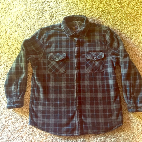 The Foundry Men/'s Fire Plaid Button Front Long Sleeve Shirt